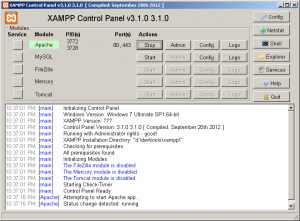XAMPP Control Panel - Apache is Running